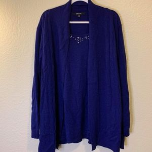 Briggs purple and blue sparkly cardigan with tank